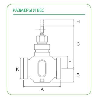 Размеры клапана Schneider Electric V341-15-2,5
