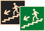 знаки фотолюминесцентные эвакуационные Е14 Направление к эвакуационному выходу по лестнице вниз налево