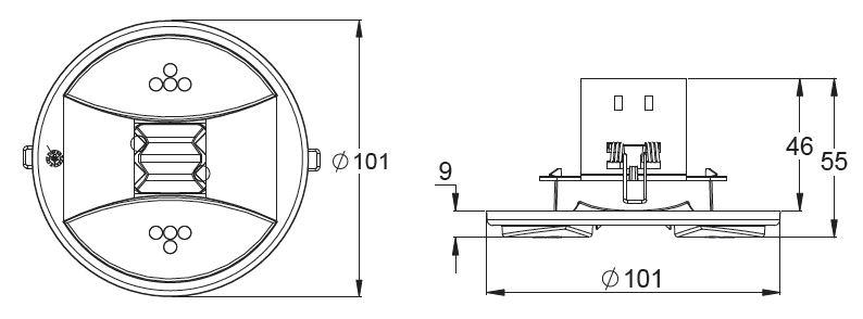 Монтажные размеры светильников эвакуационного освещения LINESPOT