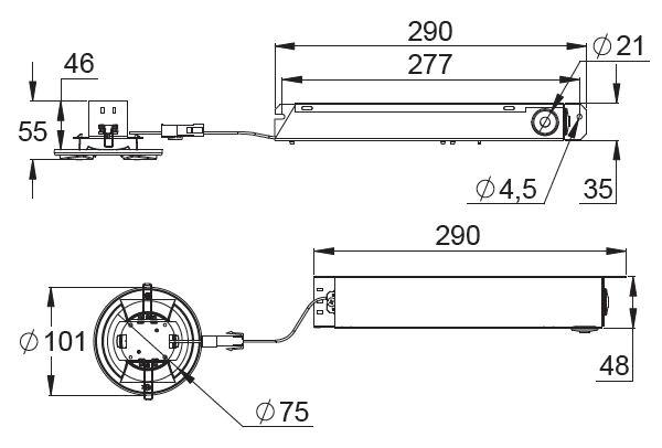 Монтажные размеры светильников эвакуационного освещения LINESPOT – адресные, на супер-конденсаторах, с АКБ на 1 час