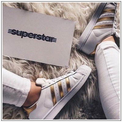 Adidas Women SuperStar White Gold