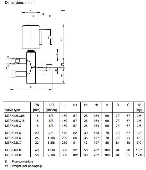 Размеры магнитного клапана Siemens M3FK50LX