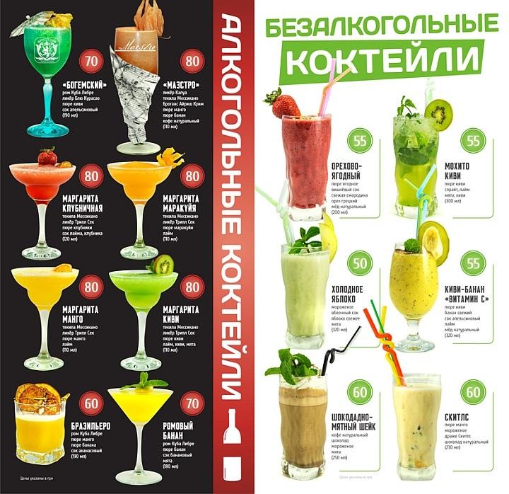 Коктейльная карта должна содержать красочные изображения напитков