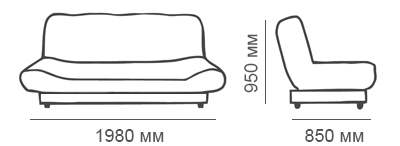 Габаритные размеры дивана-книжки Скали