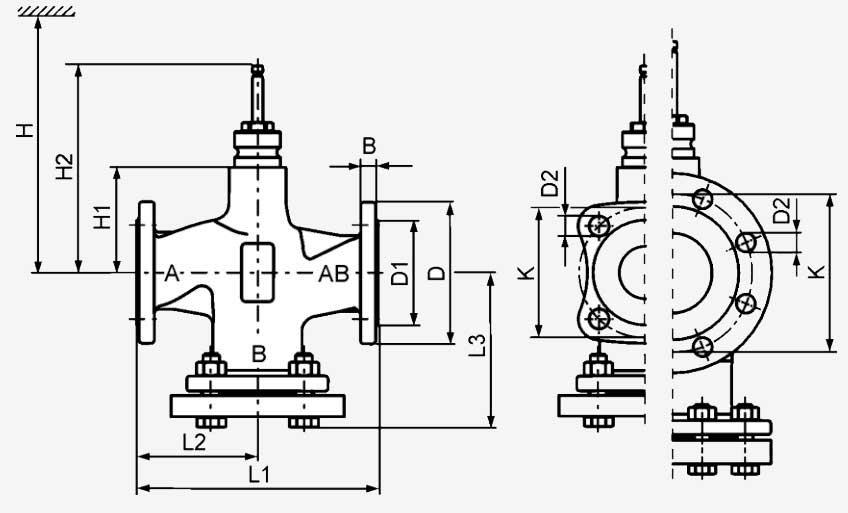 Размеры клапана Siemens VVF42.100-160