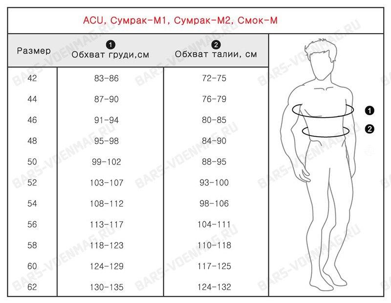 Размеры для костюмов Горка БАРС