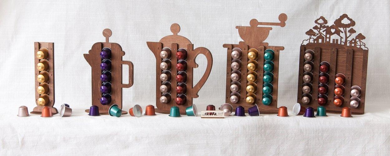 Элегантные деревянные подставки для кофе капсул