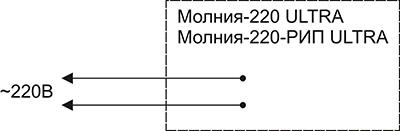Схема подключения для светового пожарного указателя Молния-220 РИП ULTRA «Выход»