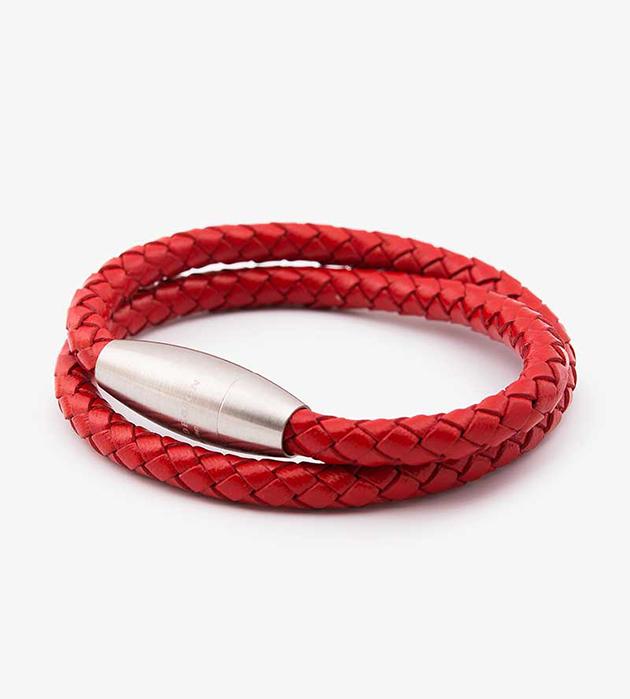 эффектныйй плетённый браслет из натуральной кожи и стали oт шведского бренда Atlas Design - Double Stephen