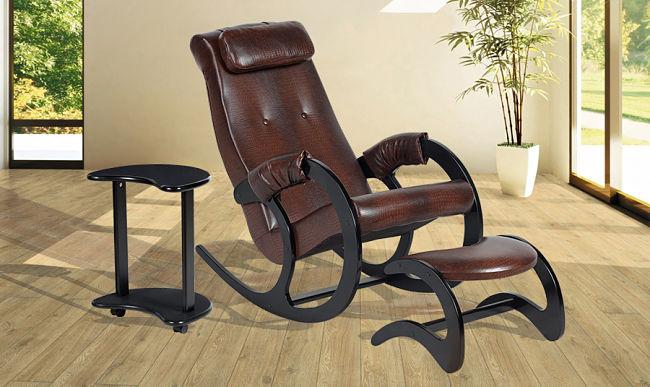 кресло качалка со столиком и банкеткой
