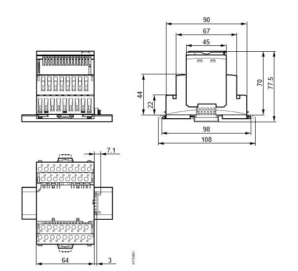 Размеры модуля Siemens TXM1.8RB
