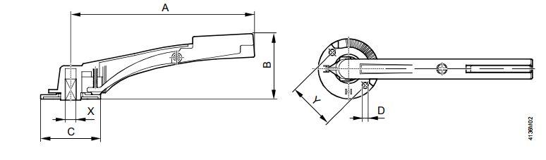 Размеры ручки Siemens ASK46.4