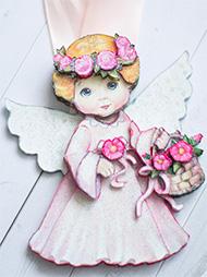 Готовая работа папертоль Ангел в розовом.