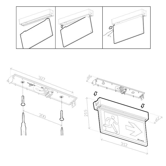 Монтажные размеры для светового табло эвакуационный выход ONTEC-AP TM Technologie