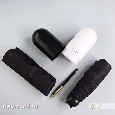 Черный мужской карманный зонт в капсуле