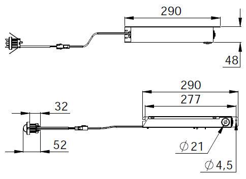 Монтажные размеры для светильников централизованного аварийного освещения MINI LINESPOT TWT7351WK