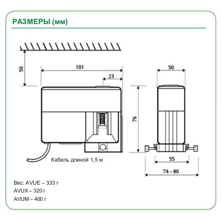 Размеры привода Schneider Electric AVUX5202