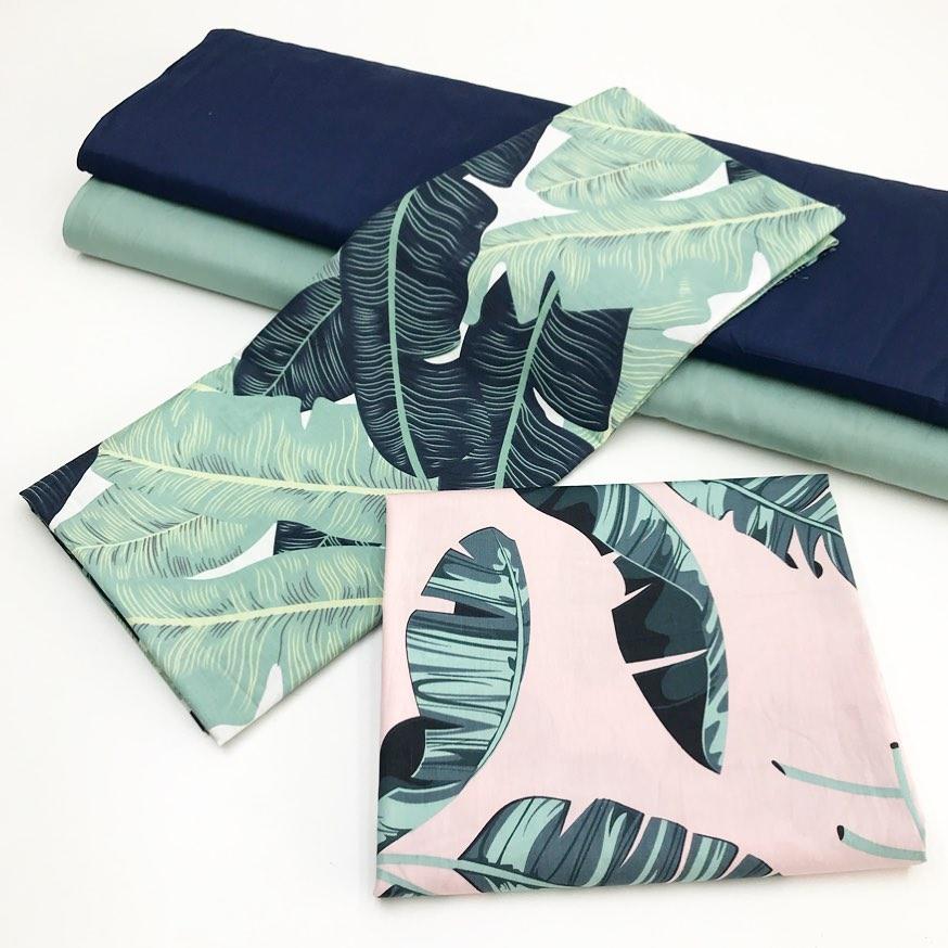 Купить ткани с рисунком тропические листья