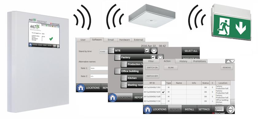 Беспроводной мониторинг AALTO Control служит для проверки исправности световых приборов