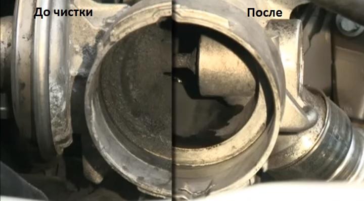 До и после очистки впускного тракта
