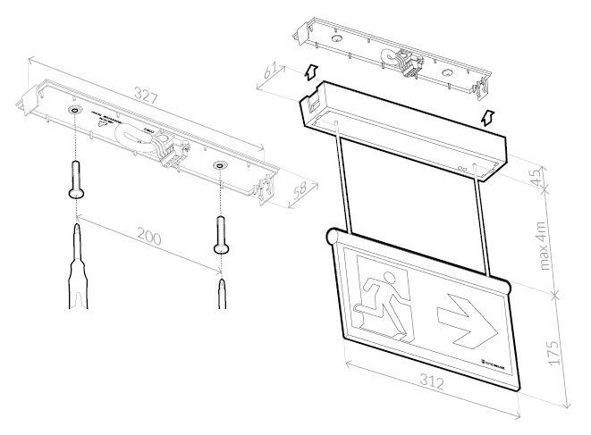 Монтажные размеры для светового указателя аварийного выхода ONTEC-AZ TM Technologie