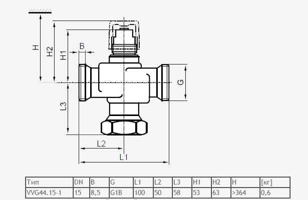 Размеры клапана Siemens VVG44.32-16