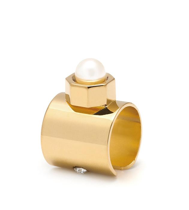 купите серьга-кафф Pearl с жемчужинкой и кристаллом Swarovski от Maria Francesca Pepe