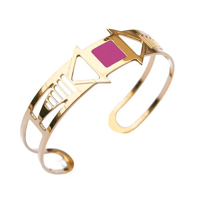 резной браслет-манжет с эмалевой вставкой Louxor rose от Chic Alors-Paris