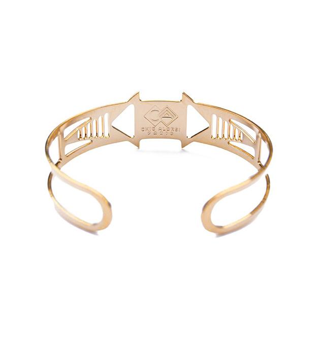 позолоченный браслет-манжет с эмалью Louxor rose от Chic Alors-Paris