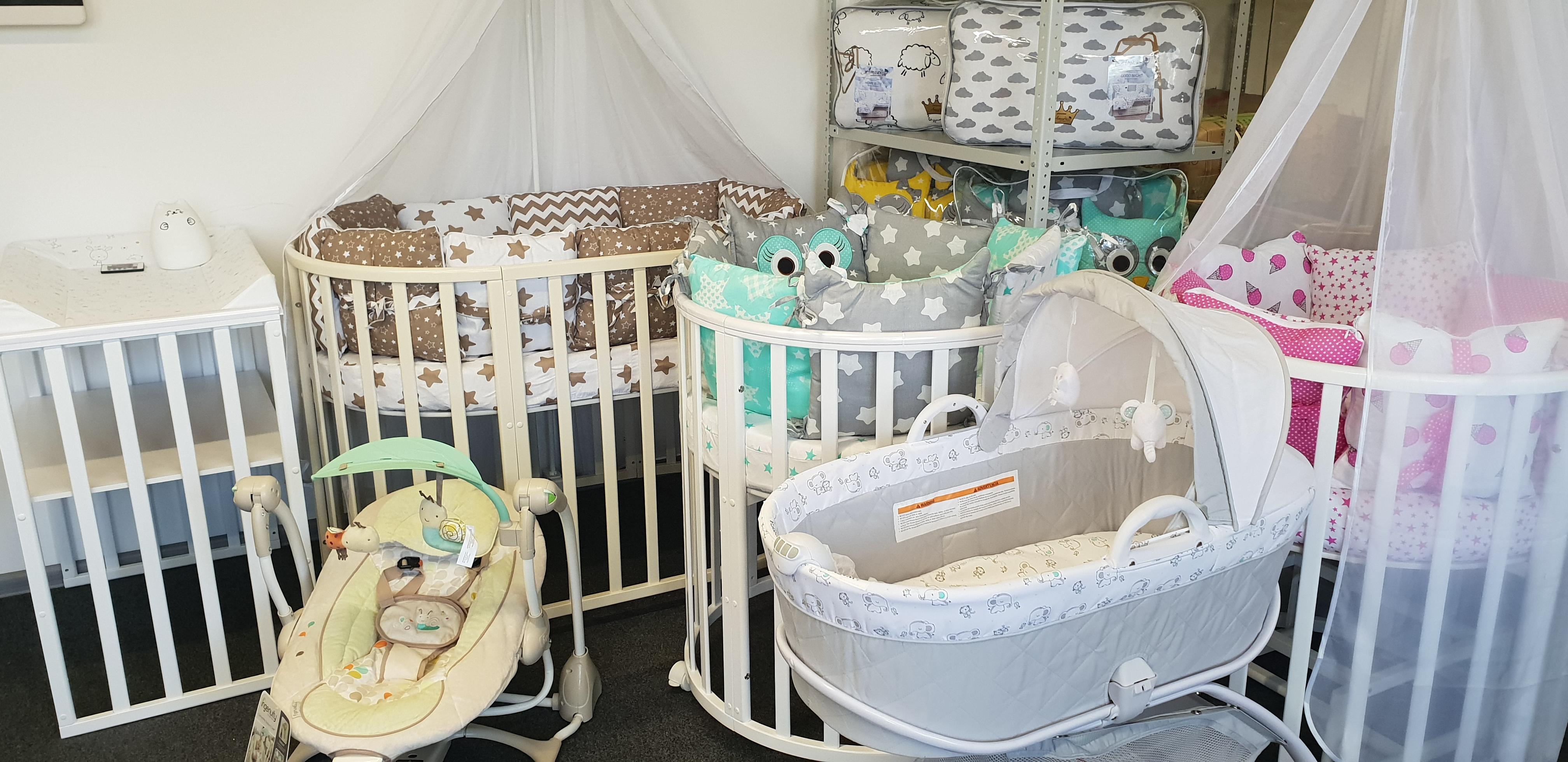 Детская мебель - кроватки, шезлонги, кресла для кормления и др.