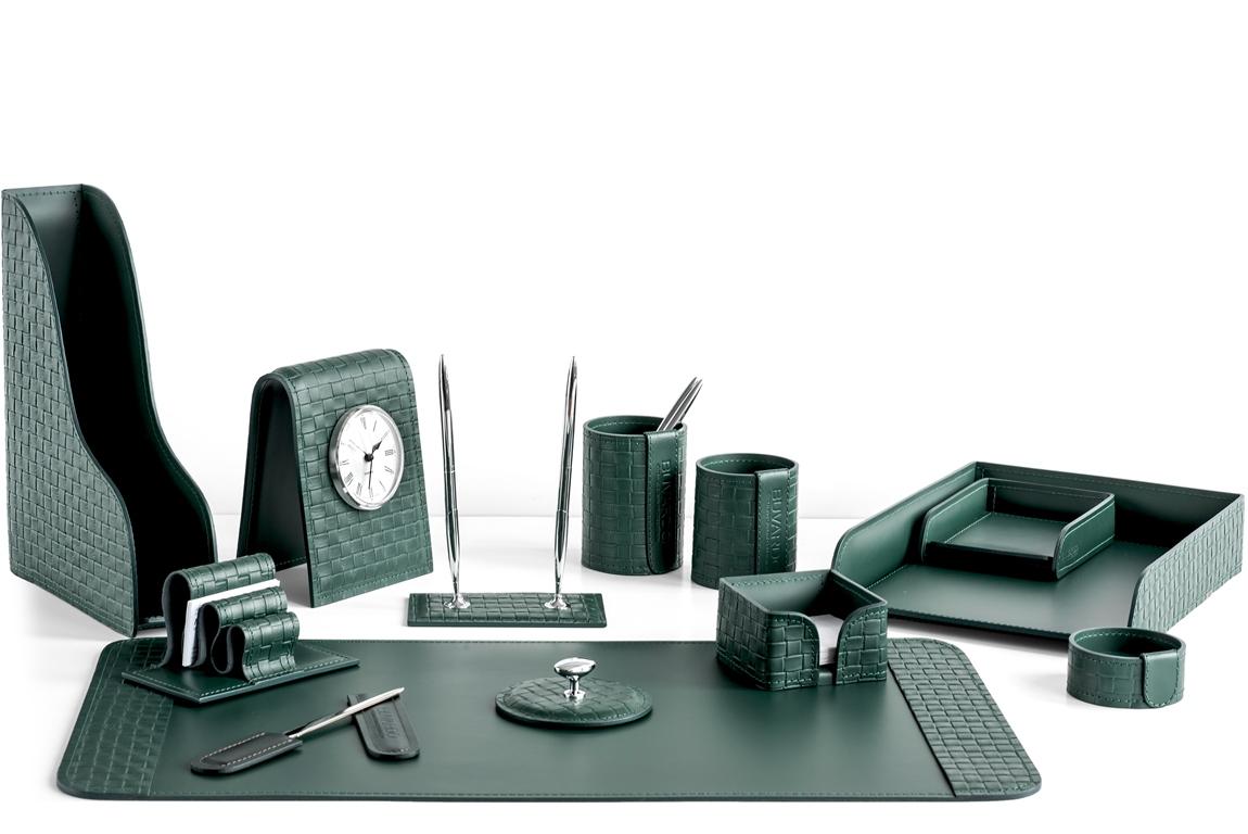 настольный набор руководителя из зеленой кожи с часами buvardo