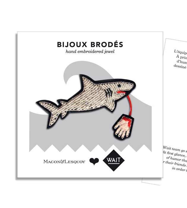 расшитая брошь ручной работы Shark от Macon&Lesquoy
