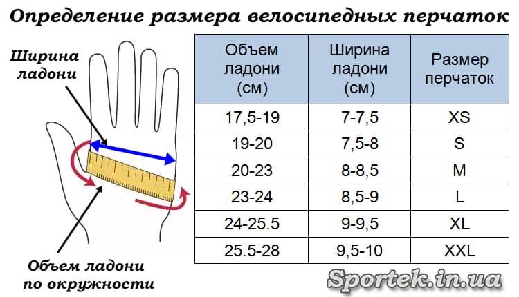 Определение размера велосипедных перчаток