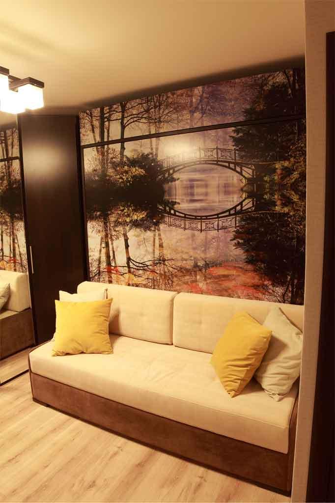 Шикарное качество УФ-печати<br />на фасаде шкафа-кровати 180х200