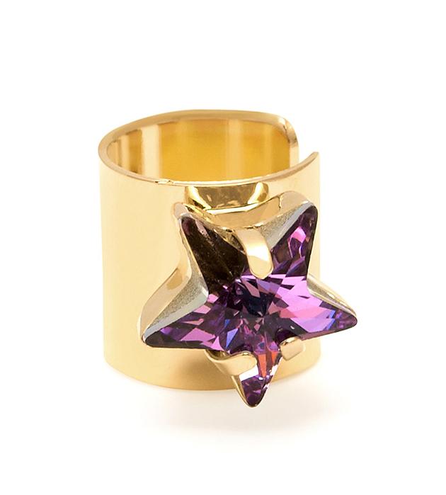 купите серьга-кафф из позолоченной латуни с кристаллом в форме звезды от Maria Francesca Pepe