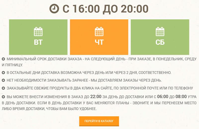 Условия доставки продуктов на сайте