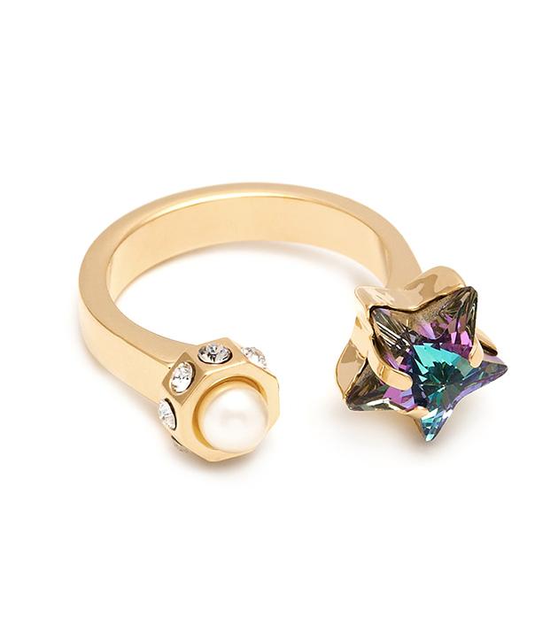 позолоченное кольцо Star, инкрустированное кристаллами Swarovski и жемчужиной от Maria Francesca Pepe