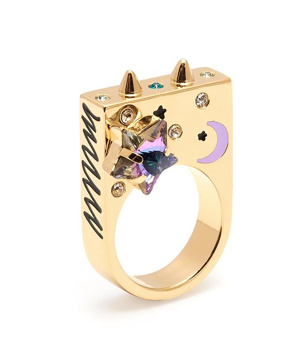 эффектное кольцо ручной работы Starry Night с разноцветной эмалью и кристаллами Swarovski от MFP