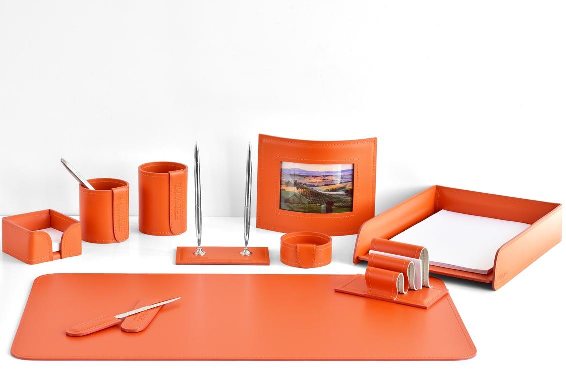 набор настольный кожаный оранжевый с фоторамкой