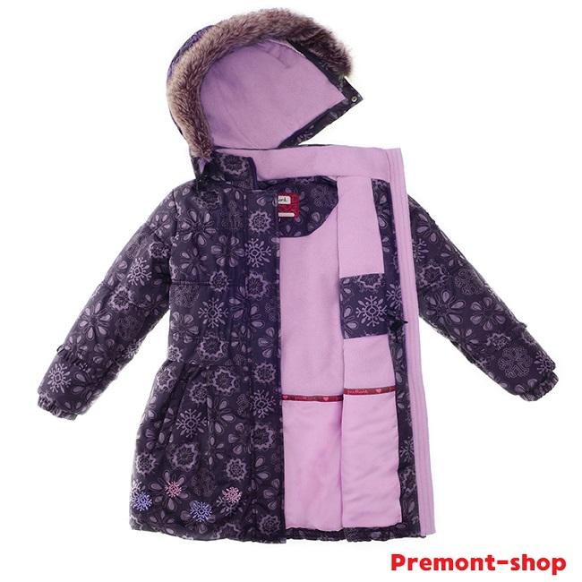 Пальто для девочки Premont Черничный Грант WP91353 в магазине Premont-shop