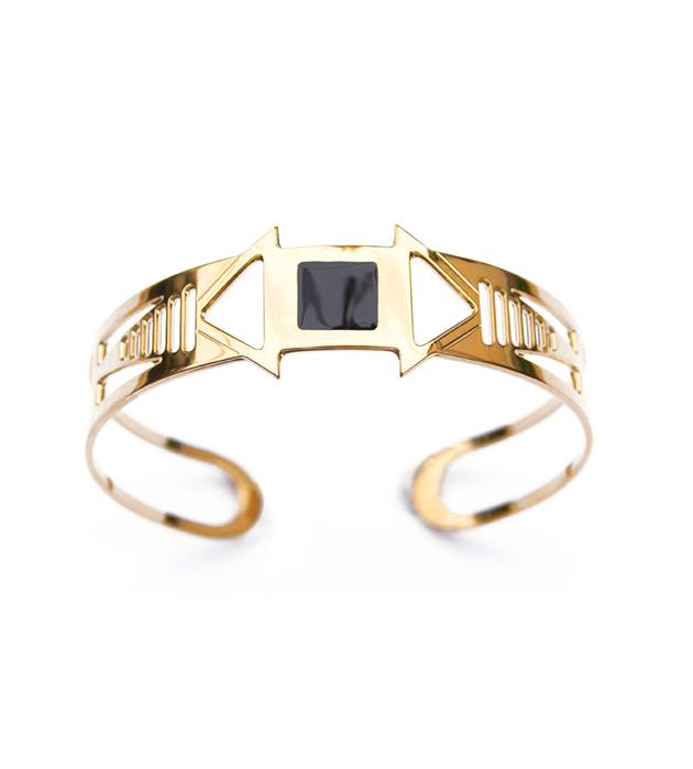 золотистый браслет-манжет Louxor noir от Chic Alors-Paris