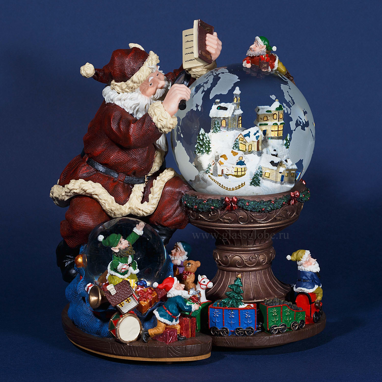 Новогодняя композиция стеклянный шар со снегом внутри