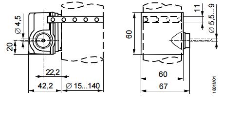 Размеры привода Siemens QAD22