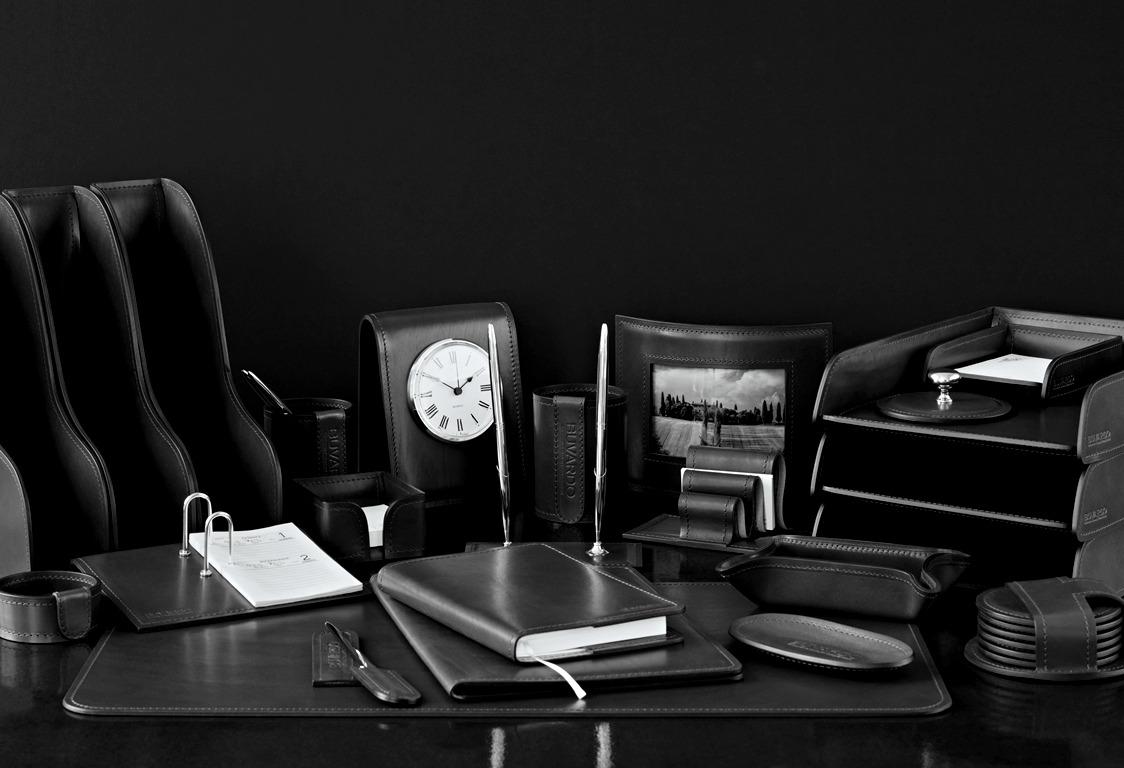 Настольный письменный набор ЛЮКС 24 предметов из кожи FG Black