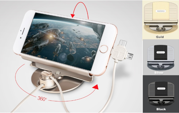 Автомобильный универсальный держатель с кабелем для зарядки телефона Remax RC-FC2Копировать товар
