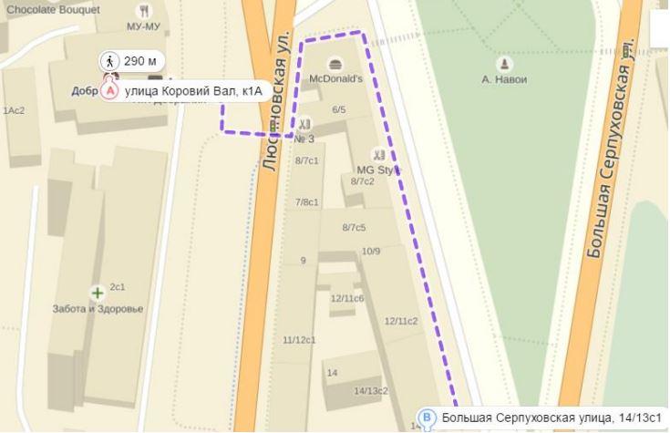 Общая схема пути к пункту выдачи заказов от станции метро Добрынинская