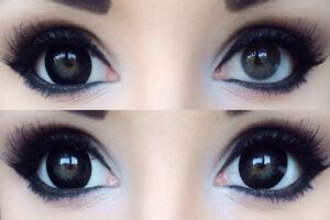 эффект линз, увеличивающих глаза, до и после, фото линзочки