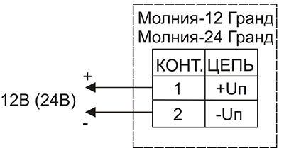 Схема подключения для светового оповещателя МОЛНИЯ-12 ГРАНД (МС) и МОЛНИЯ-24 ГРАНД (МС)