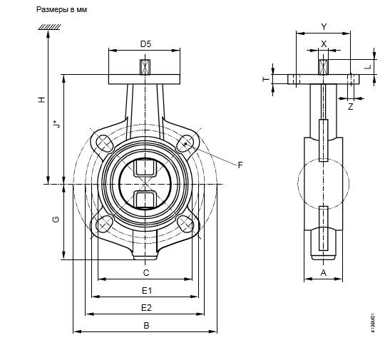 Размеры клапана баттерфляй Siemens VKF46.150