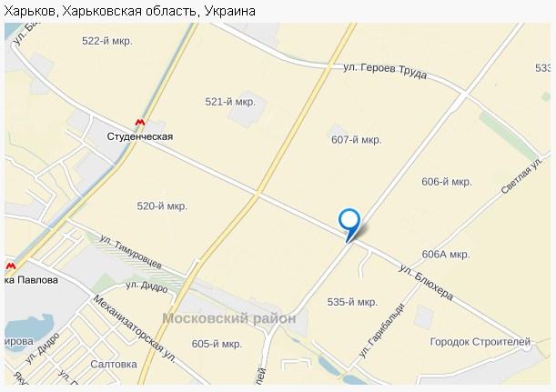 Обозначение на карте Харькова точки Самовывоза компании «Хлебомолы в Украине»